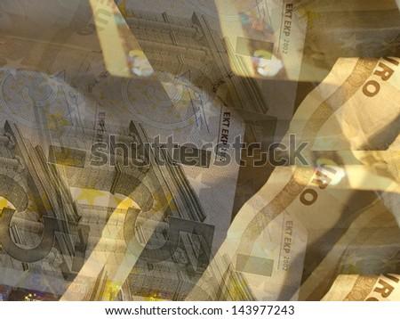several euro banknotes - stock photo