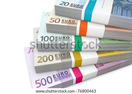 several Euro cash packets with wrapper stacked - stock photo