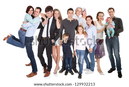 Several families with kids and couples. Isolated on white - stock photo
