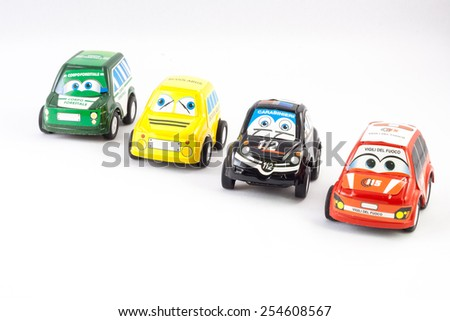 Several law enforcement small cars. Italian Police, Fireman, Ranger, Scuolabus - stock photo