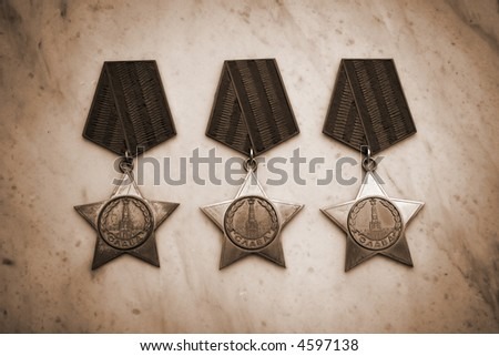 Several military medals. sepia version - stock photo