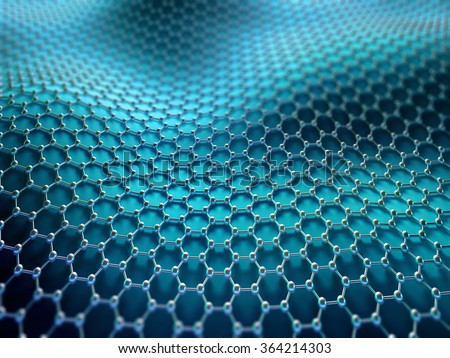 Several molecules connected, crystallized in the hexagonal system, concept of a carbon structure. - stock photo