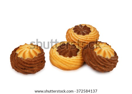 several mouthwatering shortbread cookies isolated on white background - stock photo