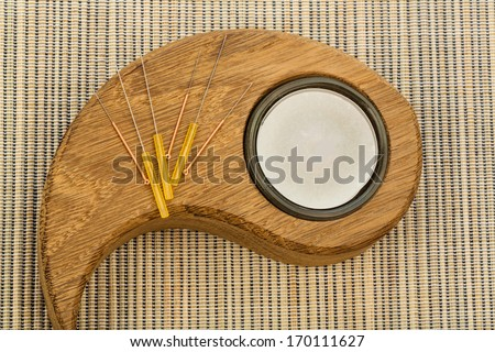 several needle for acupuncture are adjacent. traditional chinese medicine (alternative medicine). - stock photo