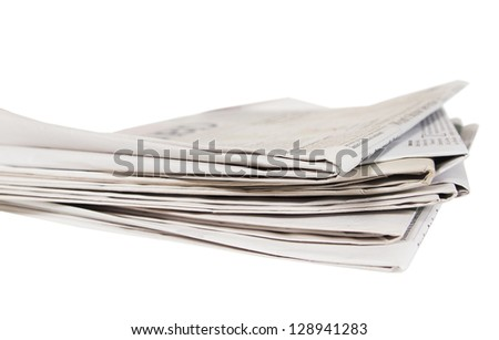 Several newspapers on a white background - stock photo