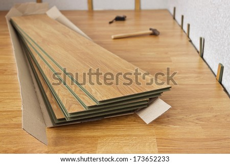 Several of laminated panels the color of the wood - stock photo