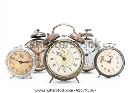 Several old alarm clocks for collection - stock photo
