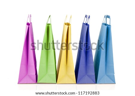 Several paper shopping bags. - stock photo