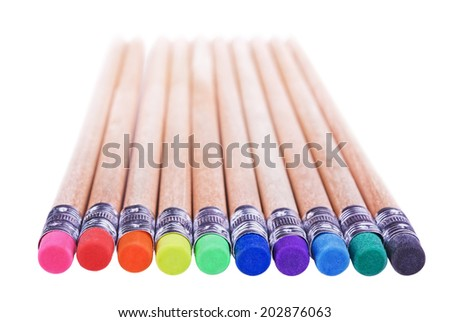 Several pencils with erasers different colours isolated on white background.Shallow DOF - stock photo