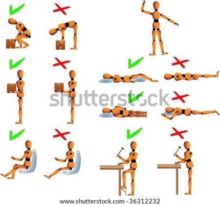 Several position with do's and don't for the back and spine care. Woody the mannequin explains it using examples. - stock photo