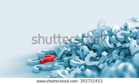 Several question marks fallen and piled up. One is red. - stock photo