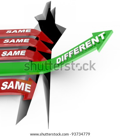Several red arrow with the word Same fall into an abyss but one successful green arrow with the word Different rises to win a competition, symbolizing the power of new unique ideas and innovation - stock photo