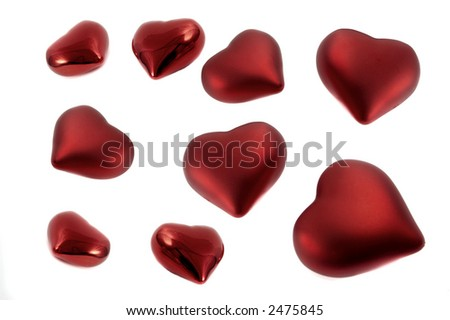 Several red hearts isolated over a white background - stock photo