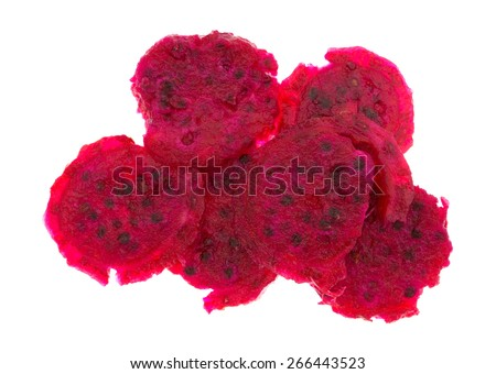 Several slices of prickly pear cactus on a white background. - stock photo