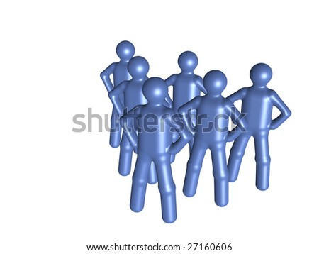 Several stylized person standing side  by  side. - stock photo
