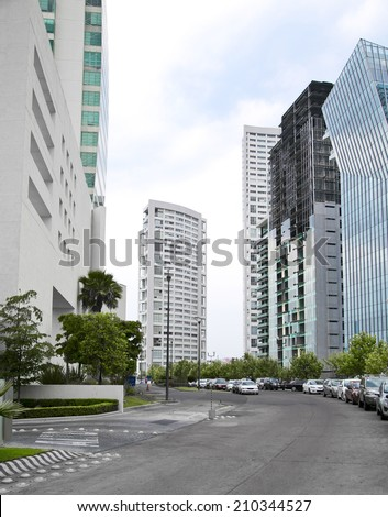 Several tall buildings, in guadalajara, jalisco, Mexico - stock photo