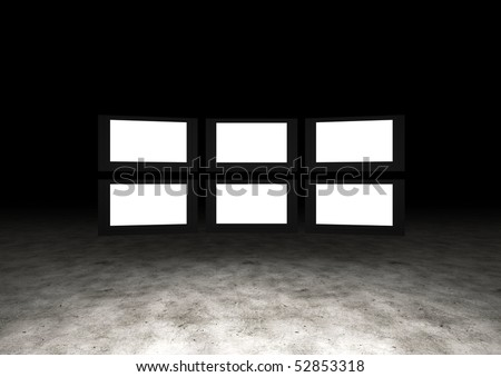 Several TVs with blank space. Large image resolution - stock photo
