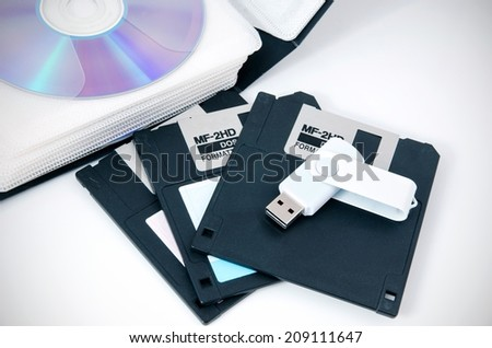 Several types of storage media - stock photo