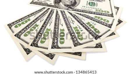 Several 100 US$ money notes spread out in fan shape, isolated on white background. - stock photo