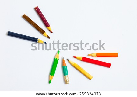 several vintage pencils on a white background, close-up.  - stock photo