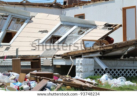Severe Tornado Damages Home and Belongings.  Damage is extensive. - stock photo