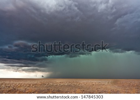 Severe weather in american plains - stock photo