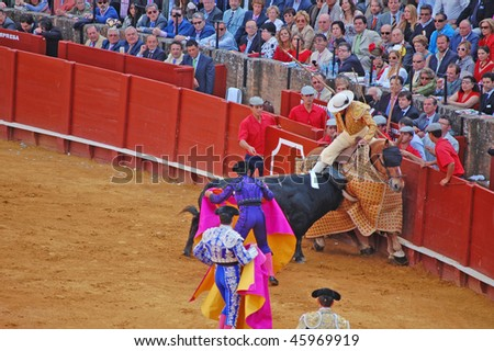 SEVILLE - APRIL 30: A bull attacks the picador during a bullfight at the Plaza de Toros de Sevilla April 30, 2009 in Seville, Spain. - stock photo