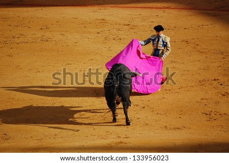 SEVILLE - APRIL 30: A bull moves toward the torero during a bullfight for a sold out crowd at the Plaza de Toros de Sevilla, April 30, 2009 in Seville, Spain. - stock photo