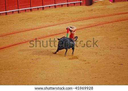 "SEVILLE - APRIL 30: Bullfighter David Fandila ""El Fandi"" sticks the banderillas into the bull at the Plaza de Toros de Sevilla April 30, 2009 in Seville, Spain. - stock photo"