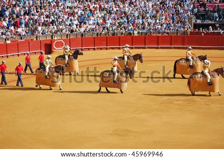 SEVILLE - APRIL 30:The picadors march into the ring at the at the Plaza de Toros de Sevilla April 30, 2009 in Seville, Spain. - stock photo
