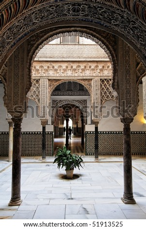 Seville, Arabic Arch as seen in Real Alcazar - stock photo