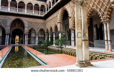 Seville, Patio de las Doncellas in Real Alcazar - stock photo