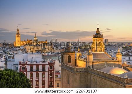 Seville, Spain city skyline at dusk. - stock photo