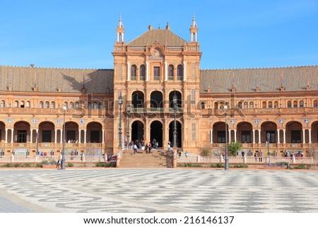 Seville, Spain - famous Plaza de Espana square, landmark of Sevilla. - stock photo