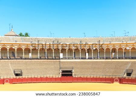 SEVILLE, SPAIN - JUNE 5: Plaza de toros de la Real Maestranza de Caballeria de Sevilla on June 5, 2014, Spain. Also called Plaza de Toros of Seville, it is the oldest spanish bullring - stock photo