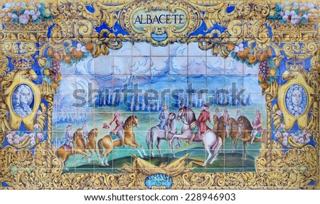 SEVILLE, SPAIN - OCTOBER 28, 2014: The Albacete as one of The tiled 'Province Alcoves' along the walls of the Plaza de Espana (1920s) by Domingo Prida.  - stock photo