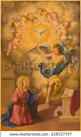 SEVILLE, SPAIN - OCTOBER 29, 2014: The fresco of Annunciation in church Basilica de la Macarena by Rafael Rodrguez (1984) in neobaroque style.  - stock photo