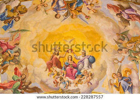 SEVILLE, SPAIN - OCTOBER 29, 2014: The fresco of Coronation of Virgin Mary on the ceiling of presbytery of church Basilica de la Macarena by  Rafael Rodrguez (1949) in neobaroque style. - stock photo