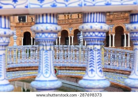 Seville, Spain - Plaza de Espana bridges. Beautiful Old Town. - stock photo