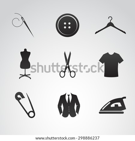Sew icon set. - stock photo
