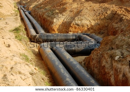 sewage or supply pipes, plumbing industry - stock photo