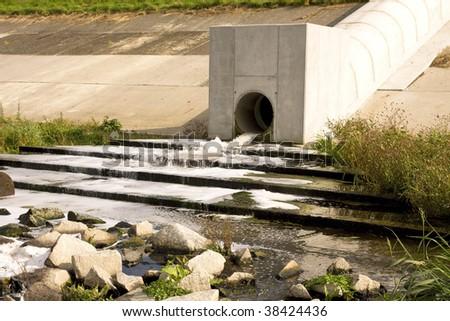 sewage pipe - stock photo