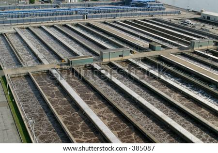Sewage treatment plant. - stock photo