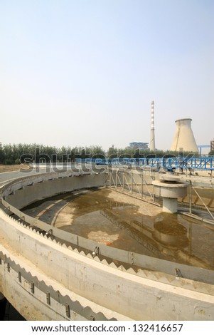 sewage treatment works building facilities in China - stock photo
