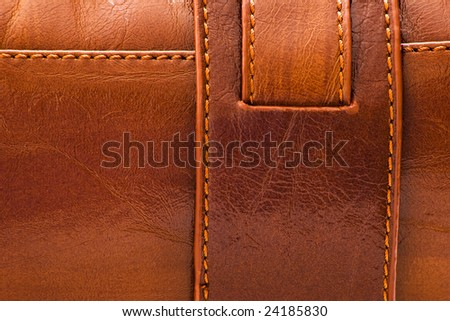 sewed brown leather background for texture - stock photo