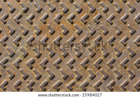 Sewer cover metal texture - stock photo