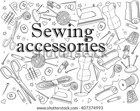 Sewing accessories coloring book line art design raster illustration. Implement separate objects. Hand drawn doodle design elements. - stock photo