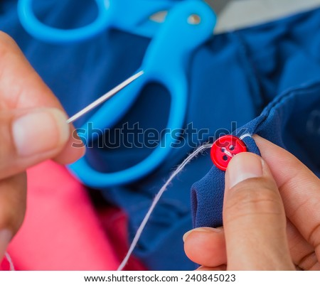 Sewing Button Showing Tailoring Fasten And Tailor - stock photo