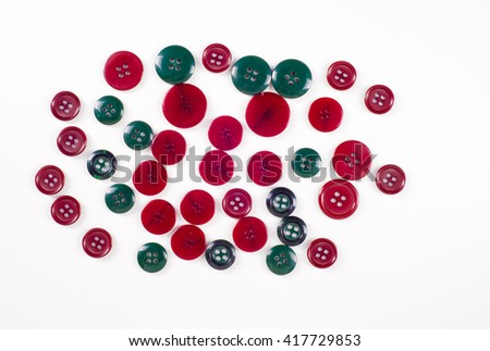 sewing buttons collection. Various sewing buttons with a thread. isolated.  collection of various sewing button on white background. - stock photo