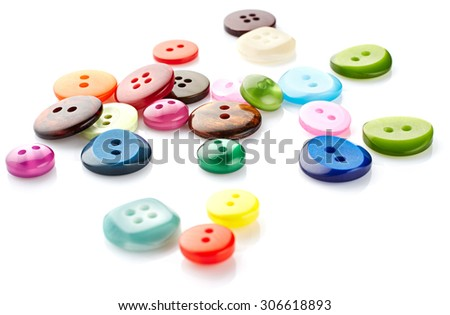 Sewing buttons isolated on white background - stock photo